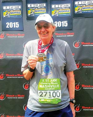 Art Zimmerman at the finish of the Nashville Marathon.