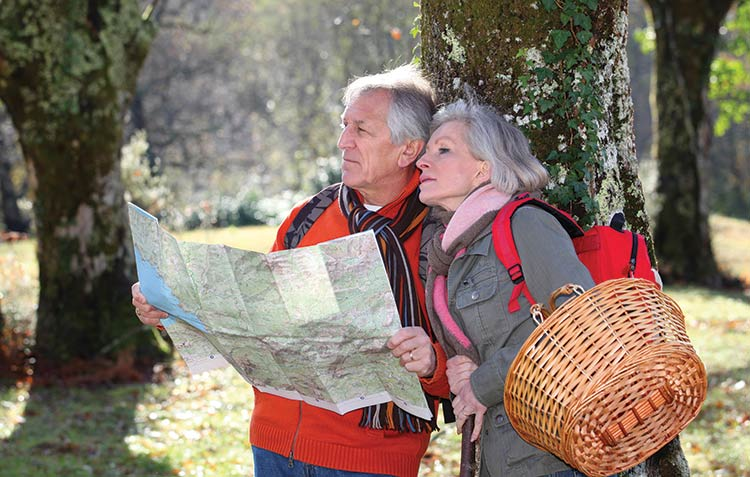 A retired couple plans a day's activities.